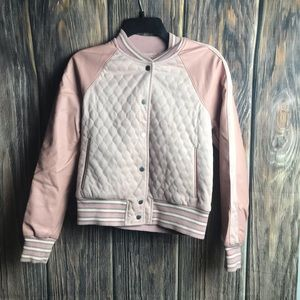 Abercrombie and Fitch pink vegan leather jacket